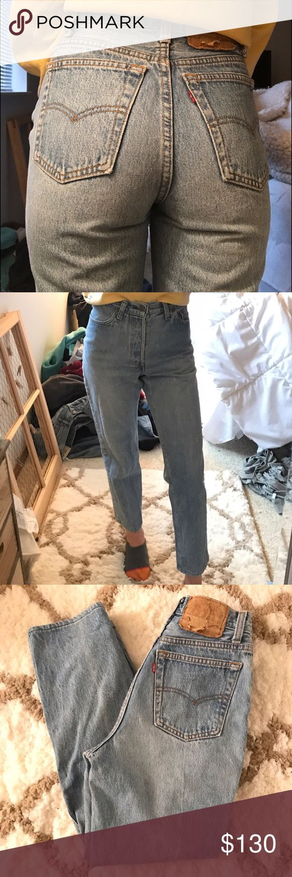 """Vintage Levi's 501s! Beautiful vintage 501s women's style! These are a light wash and extra high rise. These have been hemmed. The waist measures at 24"""", rise 10.5"""", hips 36"""", inseam 26"""". These jeans are honestly perfect, they're soft denim, so comfy, skinny throughout the whole leg and fit amazing! They're just a tad too big for my hips :( the price is pretty firm because if no one buys them I'm going to alter them to fit me Levi's Jeans Skinny"""