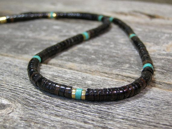 Mens Necklace  Heishi Necklace  Turquoise by StoneWearDesigns