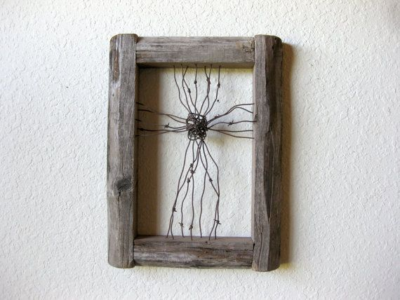 Reclaimed Barn Wood and Barbed Wire Cross Wall Art