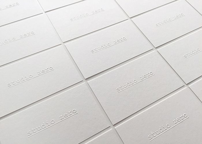 Personal identity   Graphic   Works   studio zero   no color, just a blind embossing print that by stretching paper fibers indelibly impresses the logo in a game of light and shadows   #identity #brandidentity #brand #paper #graphic #graphicdesign #branding #visualdesign #company #white #minimal #minimalism #nocolor #card #businesscard