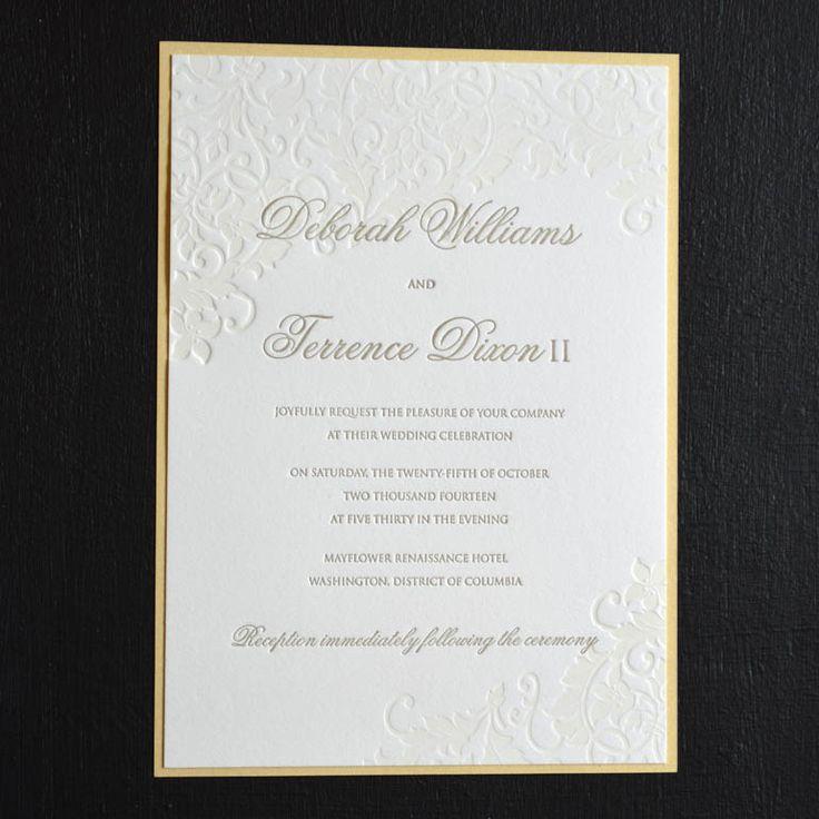 Golden Leaf letterpress invitation with metallic backer
