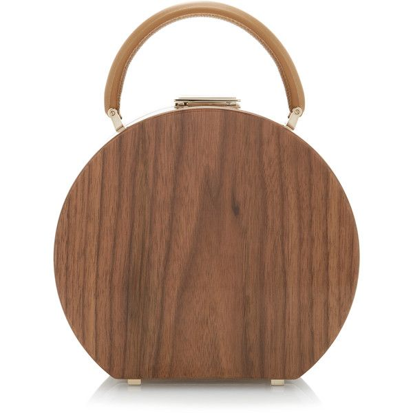 BUwood Bumi18 Walnut Wood Top Handle Bag ($3,795) ❤ liked on Polyvore featuring bags, handbags, brown, brown handle bags, wooden purse, wood handbag, top handle bags and handle bag