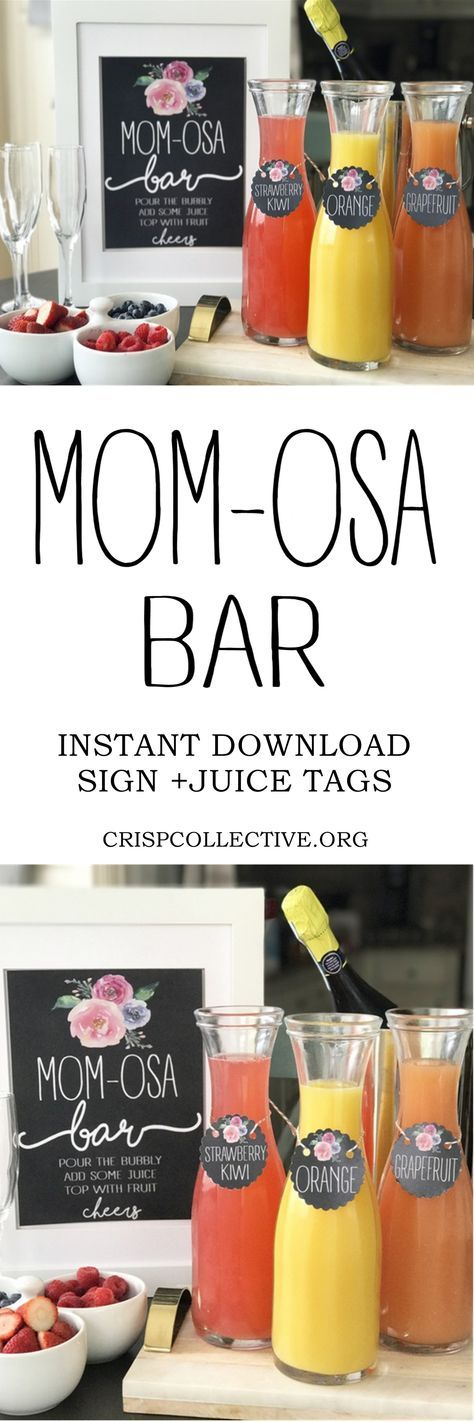 MOM-osa Bar:a fun mimosa bar for a baby shower or Mother's Day