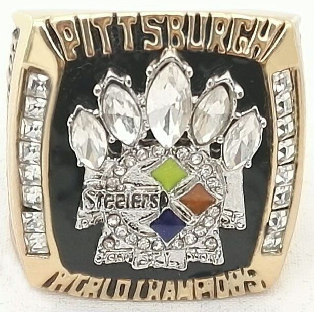 2005 pittsburgh steelers super bowl 24k gold plated ring free shipping
