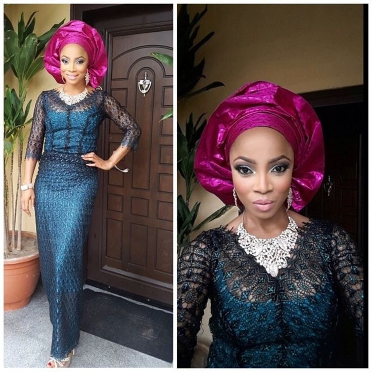 Black Lace Iro And Buba With Blue Lining Pink Gele African Lace With Grace Pinterest
