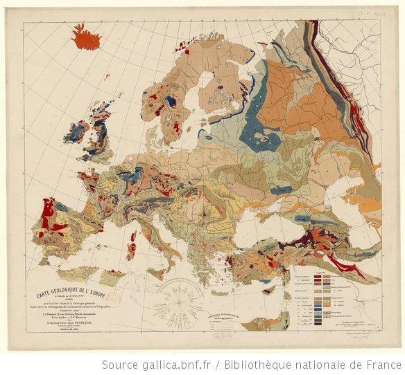 Carte géologique de l'Europe, à l'échelle du 8,000,000e, établie pour faliciter l'étude de la géologie générale et pour servir au développement des connaissances ordinaires de géographie, d'après les cartes d'A. Dumont, H. von Dechen, Élie de Beaumont, E. von Sydow et J. C. Houzeau / par le capitaine d'état-major Hennequin, ... - 1875