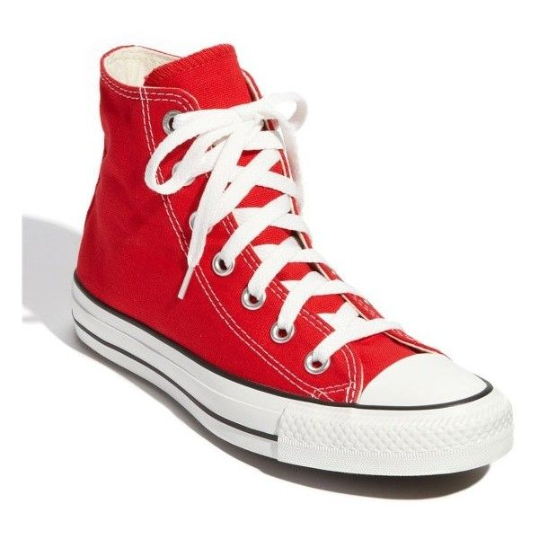 Women's Converse Chuck Taylor High Top Sneaker ($55) ❤ liked on Polyvore featuring shoes, sneakers, red, converse shoes, high top trainers, high-top sneakers, red hi top sneakers and red high tops
