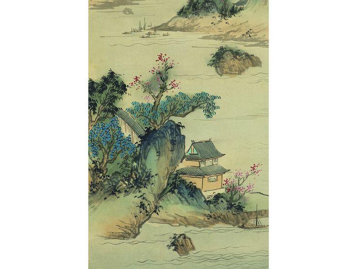 Antique chinese landscape watercolour.