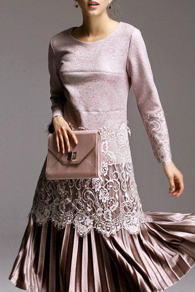 Light Pink Vintage Lace Spliced Blouse