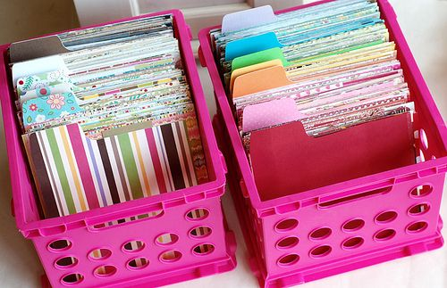 organize scraps of scrapbook paper