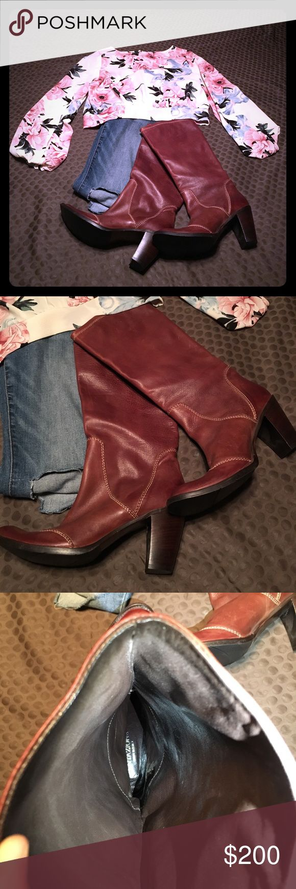 Light Brown Leather Boots Tentazione Brown genuine leather  boot with stitching.  Size 38/US 8.  Made in Italy Shoes Heeled Boots