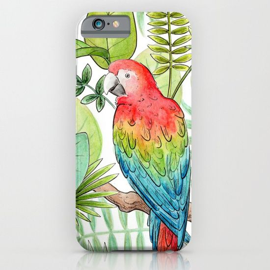 Macaw Tropical Rainforest phone case.  Watercolour and pen illustration by Hazel Fisher Creations. Protect your iPhone with a one-piece, impact resistant, flexible plastic hard case featuring an extremely slim profile. Simply snap the case onto your iPhone for solid protection and direct access to all device features.