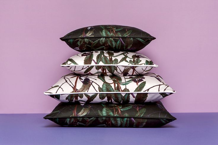 Folia Cushions by Witch and Watchman in Velvet and Cotton Featuring winter leaves, crows, humingbirds, magpies and blackbirds