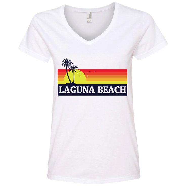 Laguna Beach T Shirt - 88VL Anvil Ladies' V-Neck T-Shirt