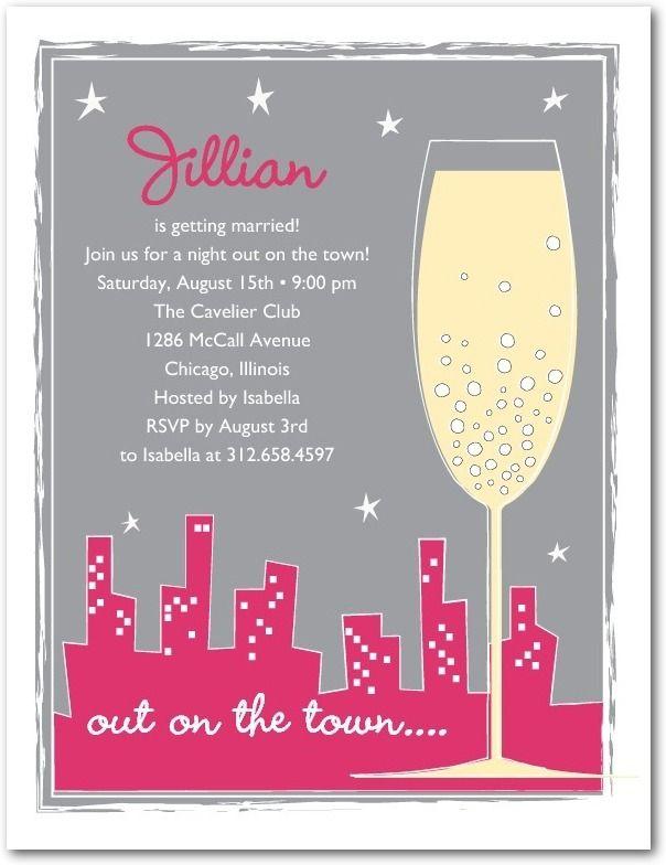 Town Toast - Studio Basics: Bachelorette Party Invitations in Begonia   Wedding Paper Divas Studio Basics