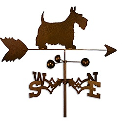 @Overstock - This weathervane is handmade of strong 14-gauge steel with a sealed ball bearing in the wind cups. The weathervane is coated with copper-colored powder coat paint, and features a Scottish terrier dog.   http://www.overstock.com/Home-Garden/Handmade-Scottish-Terrier-Dog-Copper-Weathervane/6575577/product.html?CID=214117