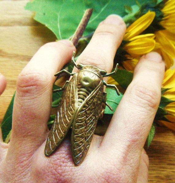 The Cicada Ring Romantic Tattoo Steampunk by PhenomenaJewelry, $32.00