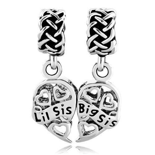 Silver Plated Pugster Filigree Heart Love Big Sis & Lil Sis Dangle Celtic Knot Beads Fit Pandora Charms Bracelet For Big Little Sister