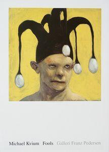 Michael Kvium, plakat nr.5, mand med hat med æg - Galleri Franz Pedersen