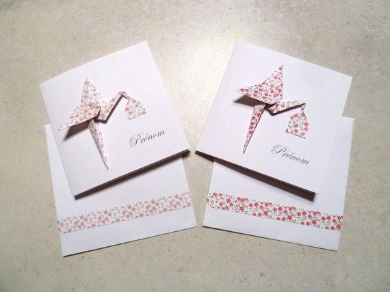 Faire part de naissance en origami - carte double papier vergé cigogne origami fucshia - rose liberty