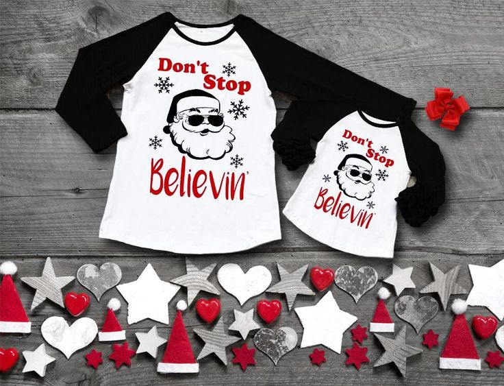 Don't Stop Believin': Santa shirts for ladies and girls from $14.99 and FREE SHIPPING!