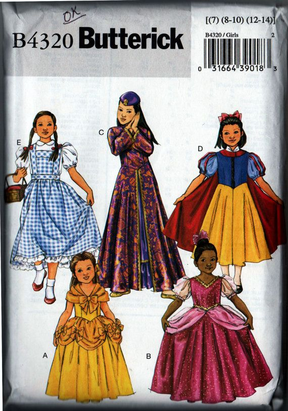 Classic Disney and Wizard of Oz Costume Patterns, Butterick B4320-- Snow White, Mulan, Sleeping Beauty, Belle and Dorothy in girls sizes 7, 8-10, and 12- 14. Perfect for Halloween, SCA or Renaissance Faires , as well as playing dress-up Just for Fun!  This pattern and envelope are in like new condition. All pieces are present and in factory folds. Sewing guides are included. Watch for more sewing items including books, patterns, pattern company handouts, Cooperative Extension and 4-H sewing…