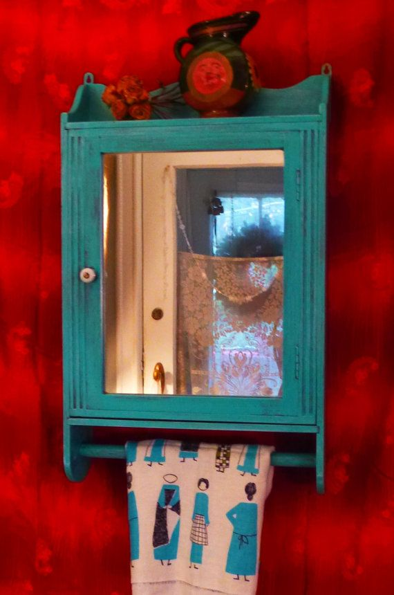 Mexican Farmhouse Medicine Cabinet with Towel Bar by poppycottage,SOLD