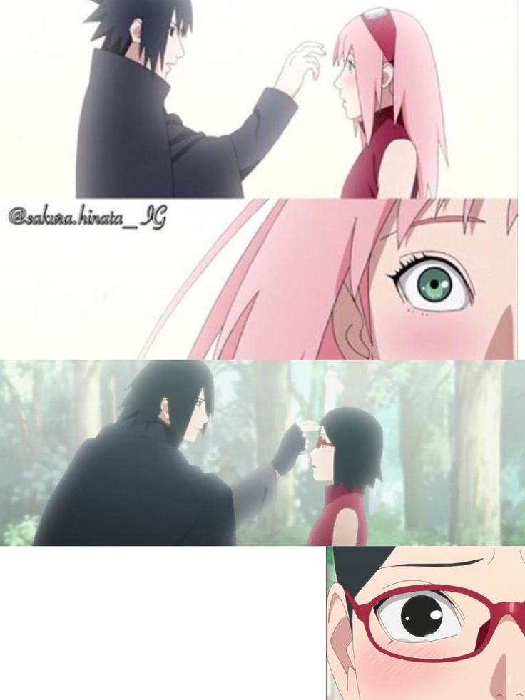 Sakura and Sarada's Reactions were the same when Sasuke poked their forehead ❤️❤️❤️
