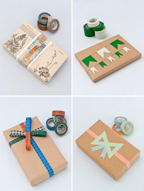 washi tape  http://hearthandmadeuk.blogspot.com/2011/12/huge-washi-tape-gift-wrapping-post.html