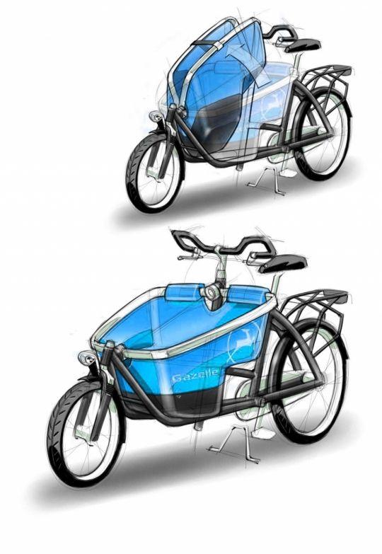 Gazelle Cabby cargo bike design sketch.