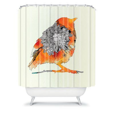DENY Designs Iveta Abolina Shower Curtain - Orange Bird - 12888-SHOCUR
