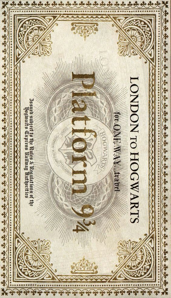 Harry Potter train ticket track 9 3/4 London to Hogwarts