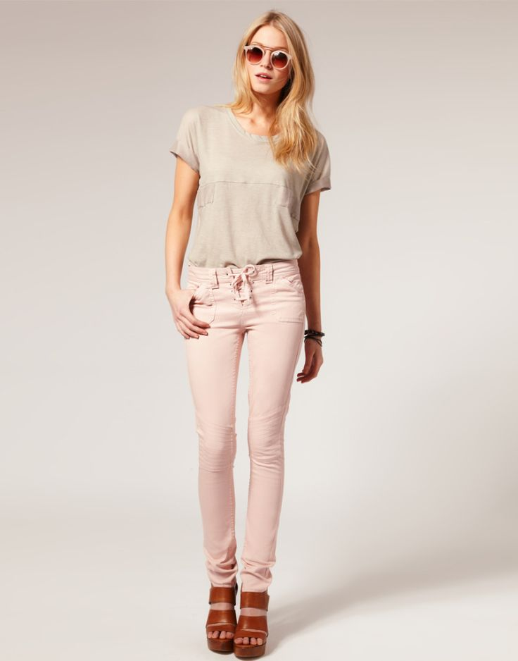 light pink skinny jeans and wedges <3 - 33 Best Pink Jeans Images On Pinterest Pink Jeans, Love And Pink