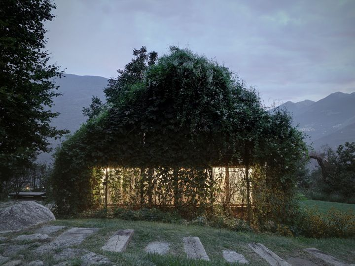 Designed by Italian firm Act Romegialli Architects, Green Box is a small camouflaged garage for a private residence situated on the Raethian Alps. While the interior is organized into a gardening room, cooking area, and a small dining/hang out space, it's the exterior that makes thi