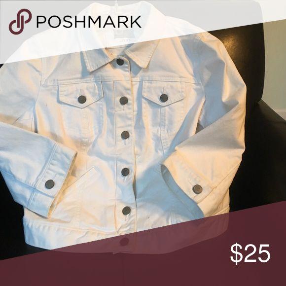 White denim short jacket White denim jacket with nickel buttons Loft Fashion Jackets & Coats Utility Jackets