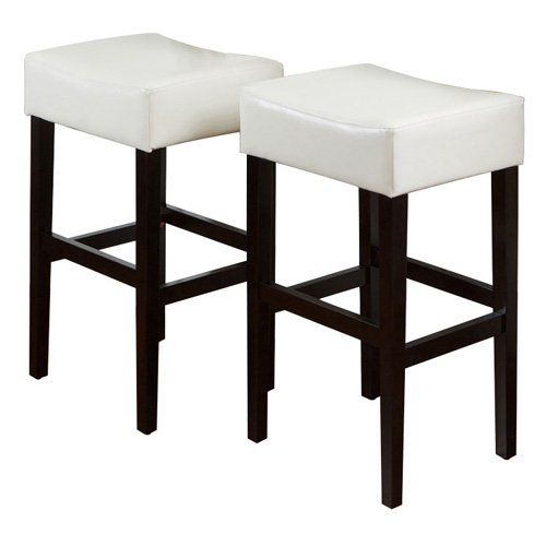 classic white leather backless bar stool set of 2