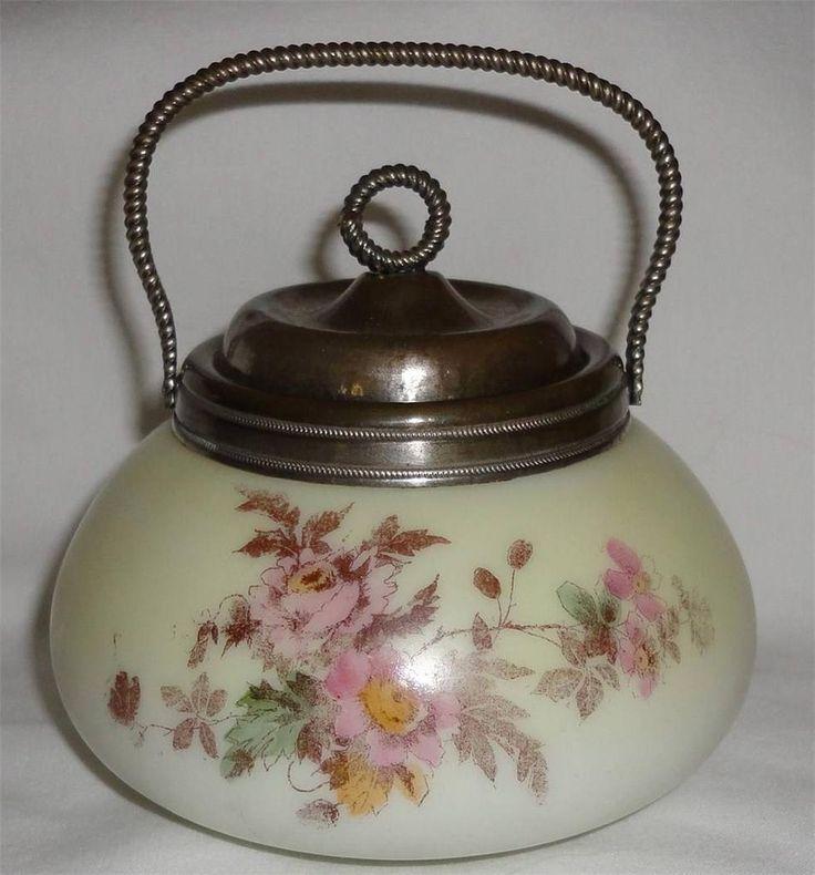 Antique Biscuit Jars | Antique-Victorian-Custard-Milk-Glass-Biscuit-Sugar-Jar-Bowl-Metal-Lid ...