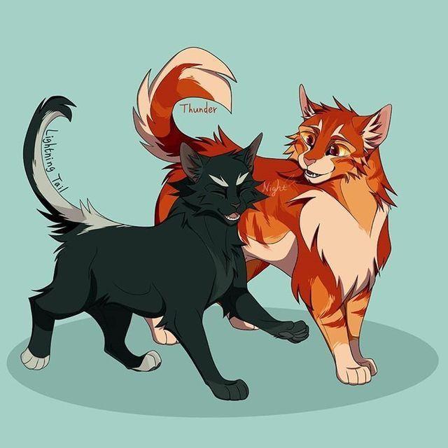 Lightning Tail x Thunder   Warrior cats comics, Warrior cat memes, Warrior  cats fan art