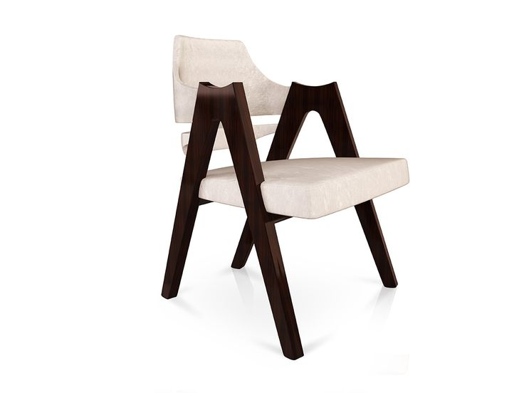 Mid-Century dining chair upholstered in velvet. The structure is made of solid wood. The seat ispadded with polyurethane foam.