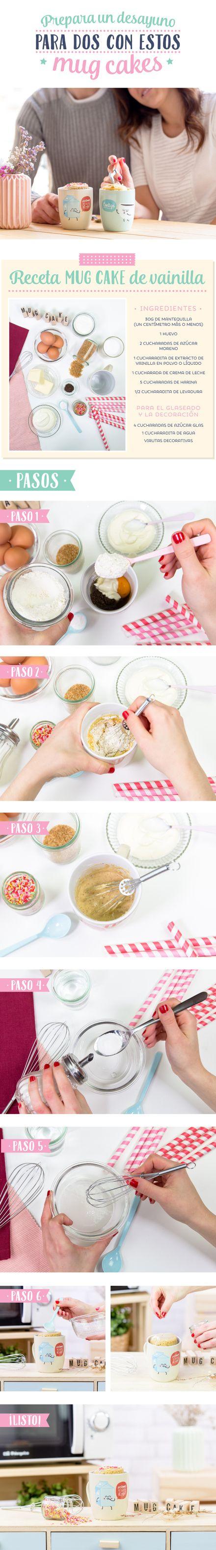 Desayuno para dos en 5 minutos con unos Mug Cakes. ¡Facilísmos de hacer en el microondas!