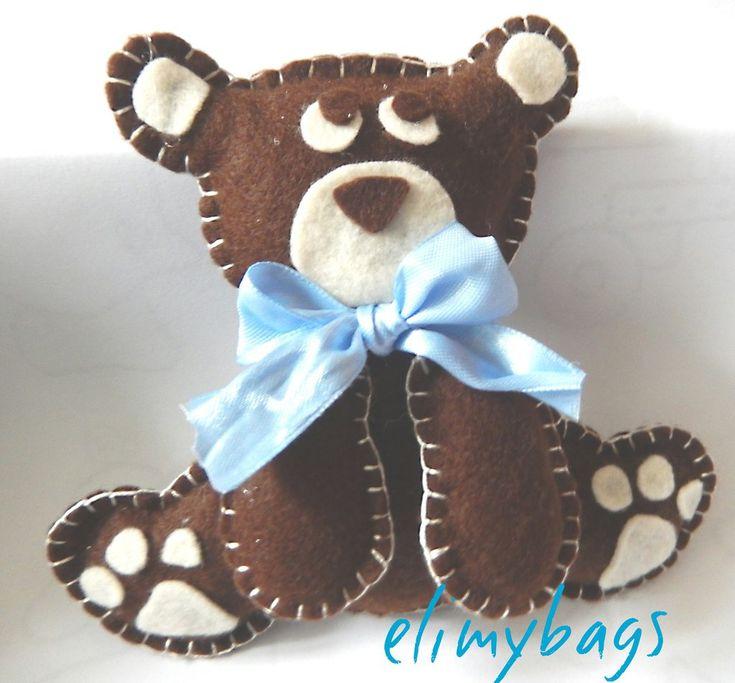 Orso bruno 3D in feltro per bambino fatto a mano♥, by Elimybags, 12,00 € su misshobby.com