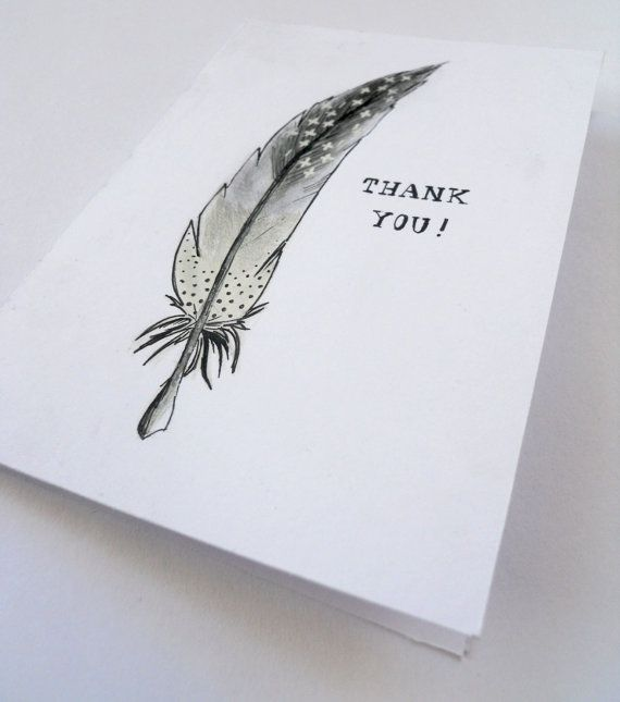 Feather THANK YOU card  Original handdrawn by BackCraft on Etsy, €3.00