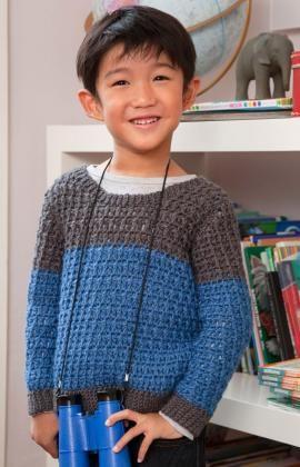 child's color block crochet sweater, sizes 2 years thru 10 years | free pattern @ red heart yarn
