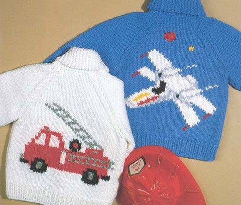 Airplane and Firetruck crochet jacket for kids