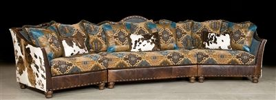 Pony and teal blue sectional sofa, couch. Leather patchwork  Fashion forward sectional (two sizes available)
