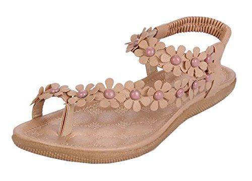 4Chiclife Womens Toe Ring Flower Beaded Ankle Strap Thong Sandal Beige 38 ** You can get more details by clicking on the image.(This is an Amazon affiliate link)