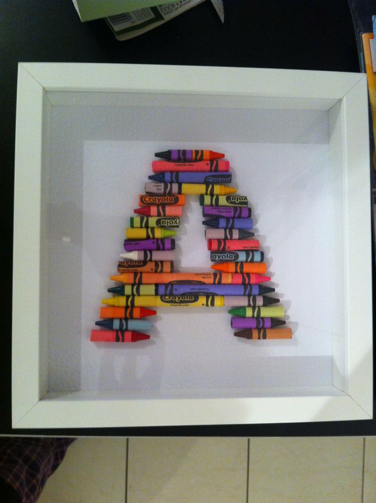 Letter Picture 23cm x 23cm Made in Crayons by SoftSatin on Etsy, £16.50