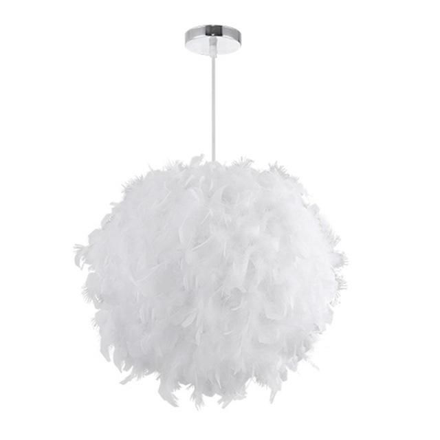Modern White Feather Ceiling Light For Bedroom Living Room With