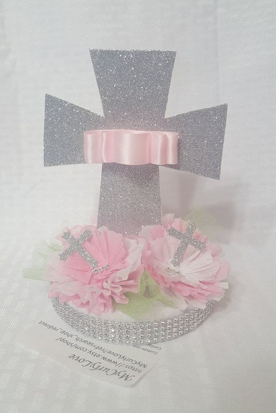 2 Girl Baptismal Centerpieces/Girl Baptism by MyCurlyLove on Etsy