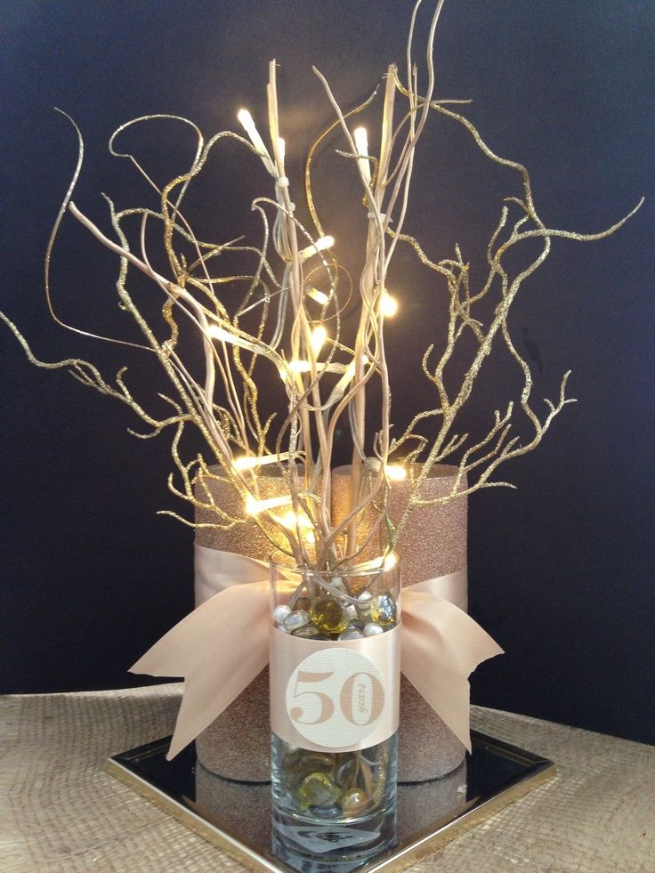 50th anniversary centerpieces | Anniversary 50th final centerpiece | mom & dads 50th anniversary